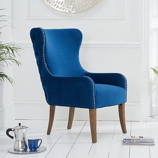 Best Canning Velvet Accent Lounge Chair In Blue With Wooden 400 x 300