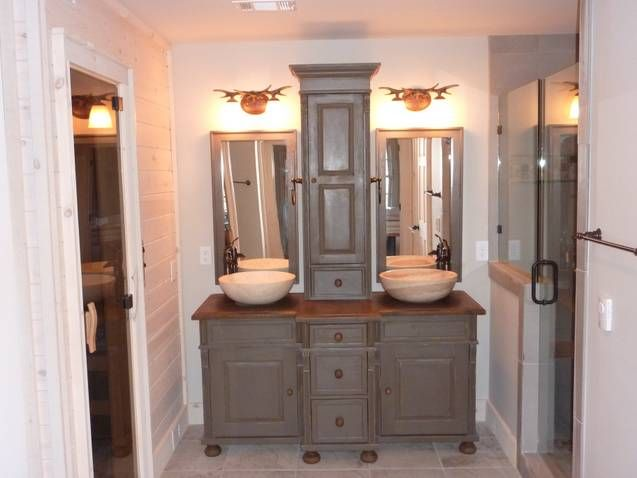 Custom Bathroom Double Vanities custom pine bathroom vanities with storage tower | bathroom