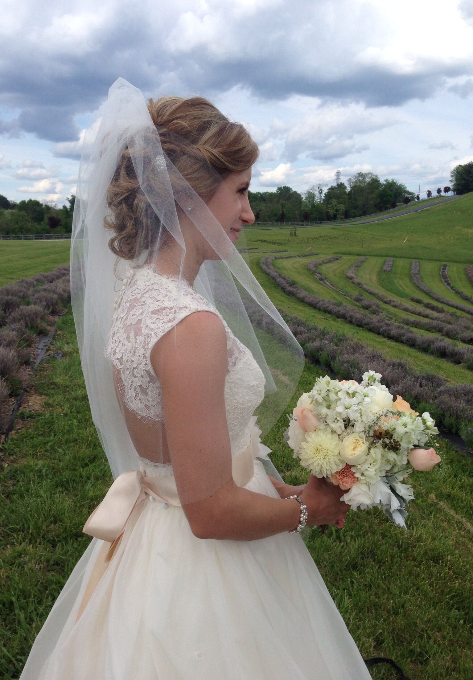Bride looking over the lavender rows