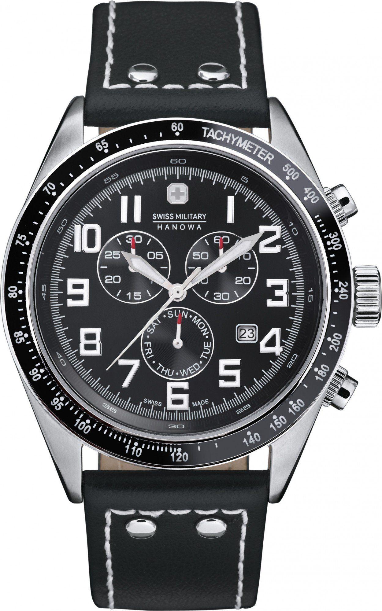 Swiss Military Hanowa Herren-Armbanduhr XL Analog Quarz Leder 06-4197.04.007