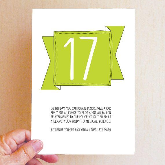 17th Birthday Card Funny Birthday Card Funny 17 Card 17 17th