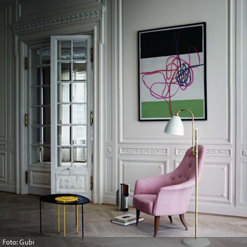 Rosafarbener Sessel im Vintage-Look Retro möbel, Klassische - moderne kunst wohnzimmer