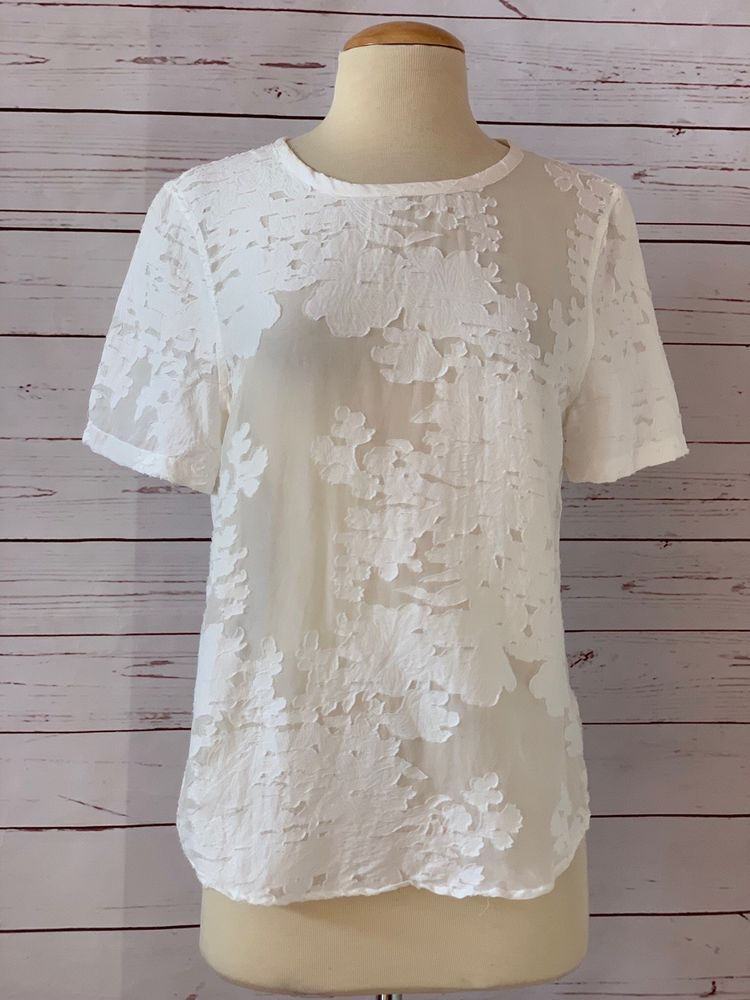 8d75a08ea9a0cb EQUIPMENT FEMME Size XS Riley Floral Burnout Top Ivory White  Equipment   Blouse