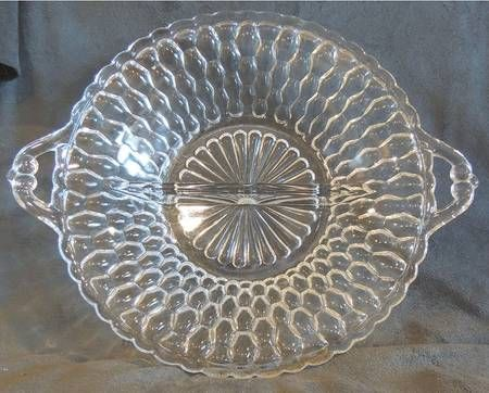 1950s Indiana Glass Honeycomb-Clear 2-Part ided relish dish.I found one & 1950s Indiana Glass Honeycomb-Clear 2-Part ided relish dish.I ...
