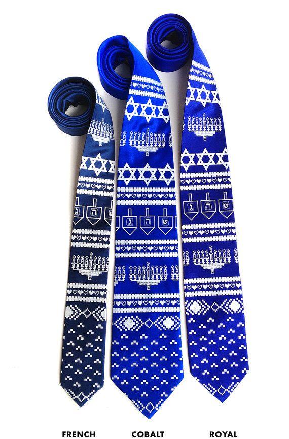 Silk Hanukkah Tie With Dreidels