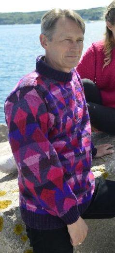 "The kite flyer's sweater pink/purple. Kits for my book FANØSTRIK - Colours of Fanø - You find the knittingpattern in my Knittingbook ""Fanøstrik - Colours of Fanø"""
