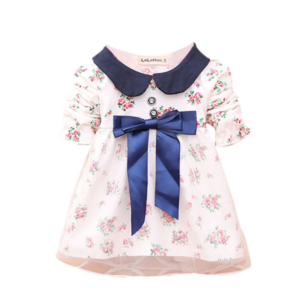 Fashion cute lovely trendy baby kids girls long sleeve floral dress