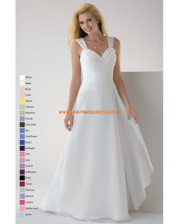 Schlichtes romantisches Brautkleid aus Chiffon Bodenlang A-Linie ...