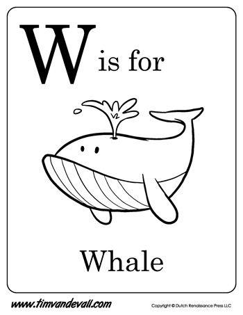 W Is For Whale Letter W Coloring Page Pdf Preschool Alphabet Printables Letter W Preschool Letters