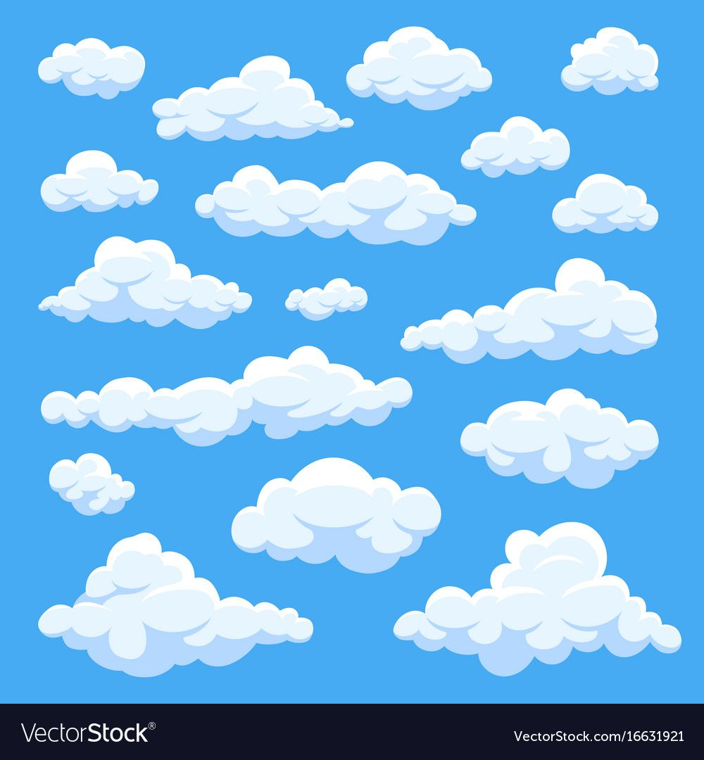 Cartoon Clouds Isolated On Blue Sky Panorama Vector Collection Cloudscape In Blue Sky White Cloud Il Cloud Illustration Cartoon Clouds Cloud Painting Acrylic