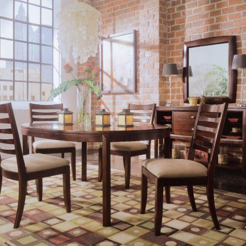 American Drew Tribecca 7 Piece Round Leg Table Set In Root Beer Delectable 7 Piece Round Dining Room Set Review
