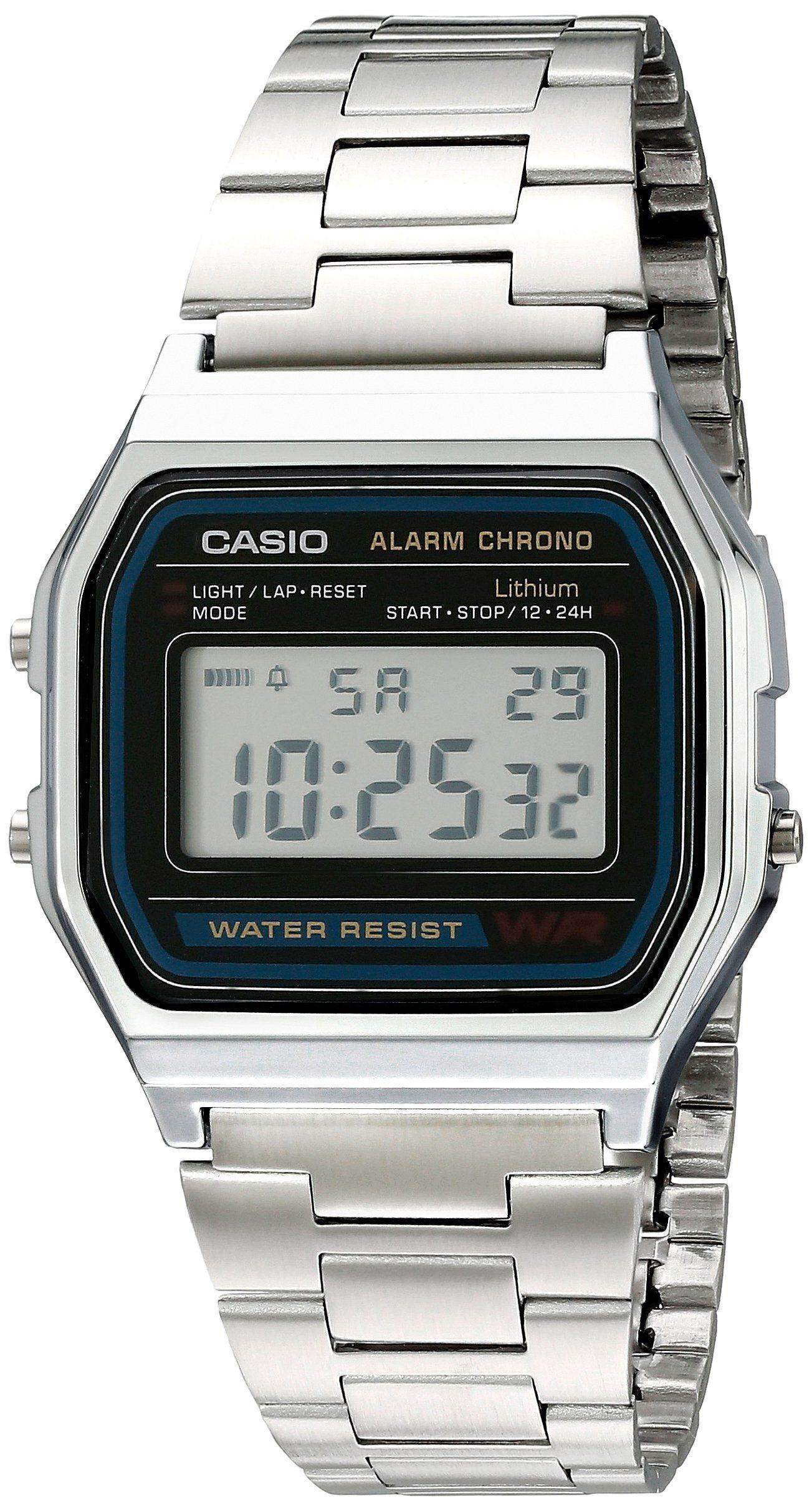 6d2c7f6e2d6 Casio A158WA1Q - Reloj Unisex metálico Negro   Plata  Casio  Amazon.es   Relojes