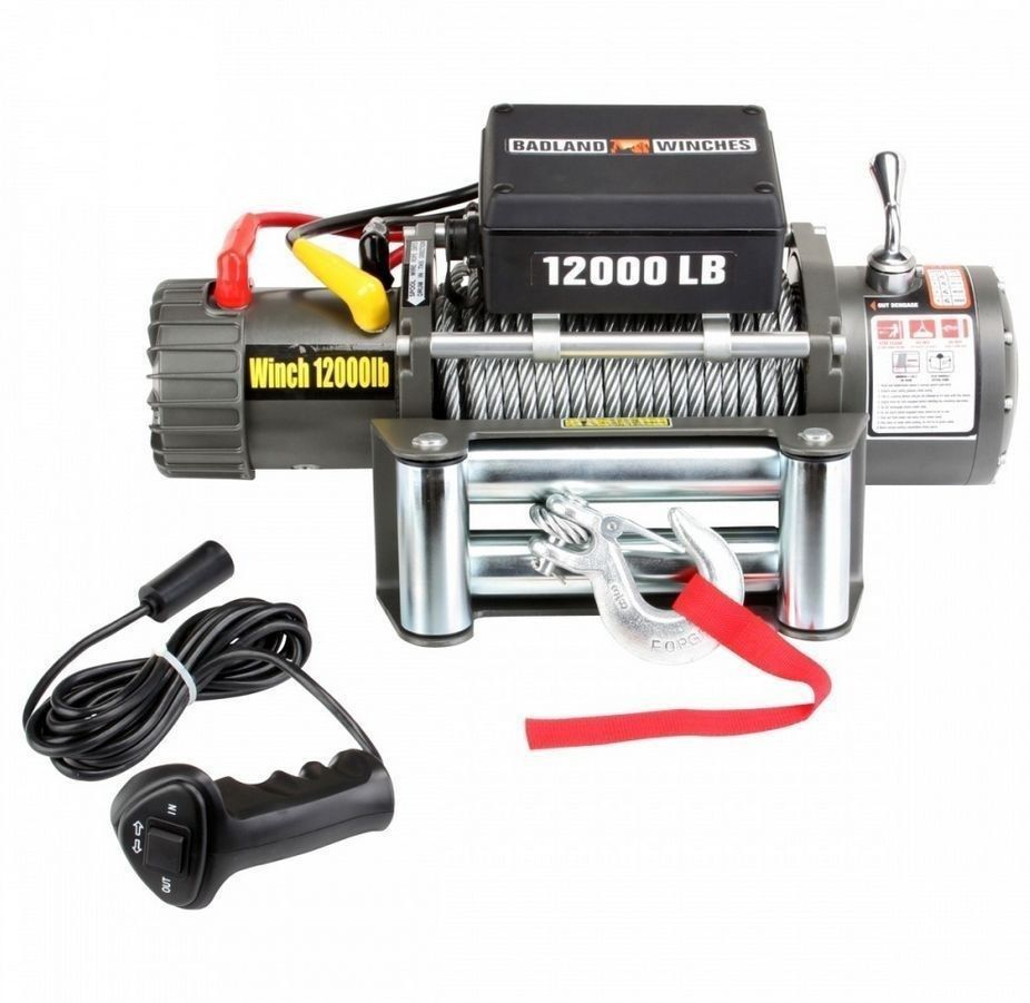 truck car trailer electric winch w remote control 12 000 lbs pulling cable 12v badland [ 926 x 901 Pixel ]