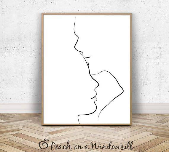 Paar küssen zum ausdrucken | Romantischer Kunstdruck | Einfache minimalistische Strichzeichnung | Schwarz und weiß  #ausdrucken #einfache #kunstdruck #kussen #minimalistische #romantischer #strichzeichnung