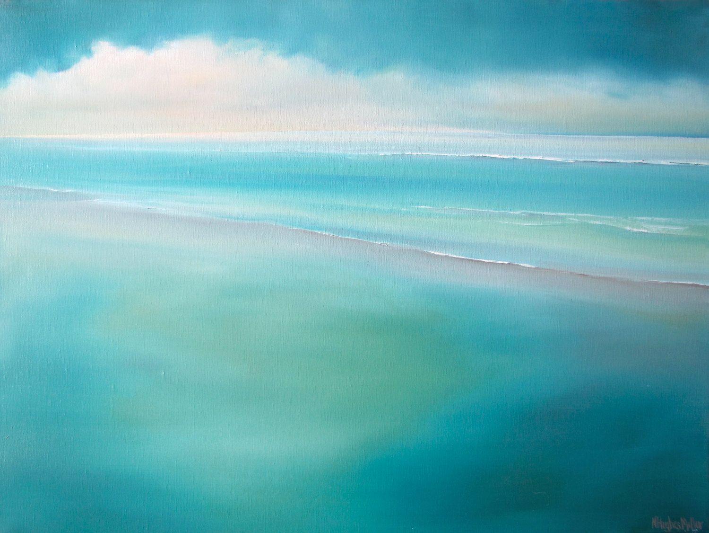 Ocean Painting Coastal Art Turquoise Abstract Landscape Painting Beach Modern Seascape Quot Morning L Ozean Gemalde Abstrakte Landschaften Landschaftsbau