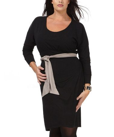 Take a look at this Black Ecelya Scoop Neck Dress - Plus by Formidables by Scarlett on #zulily today!