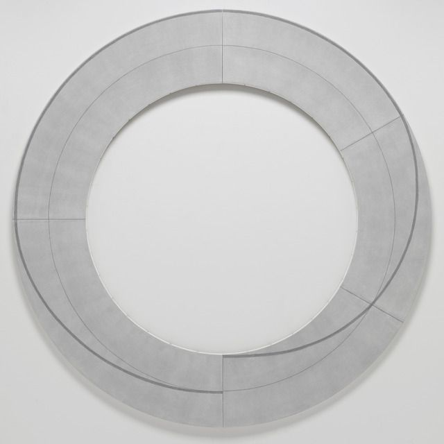 "ROBERT MANGOLD, PACE , 2010. Acrylic, graphite and black pencil on canvas, 80"" (203.2 cm) diameter."