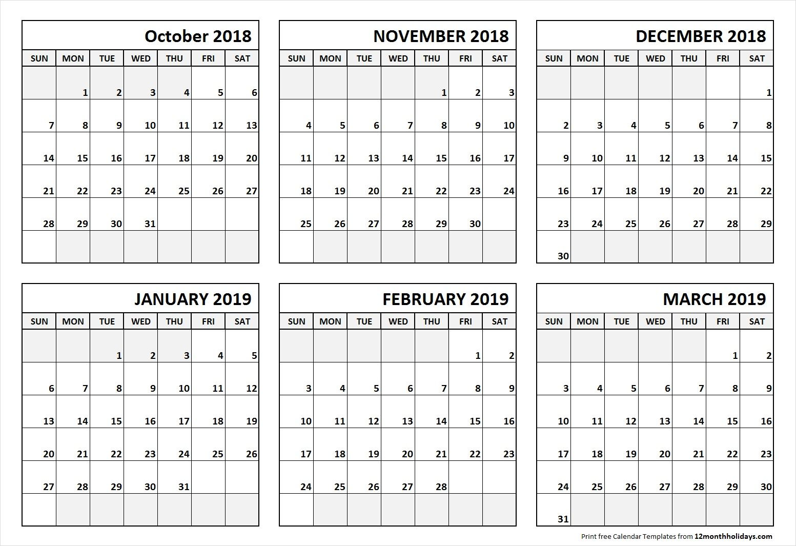6 Month Calendar October 2018 To March 2019 June 2019 Calendar