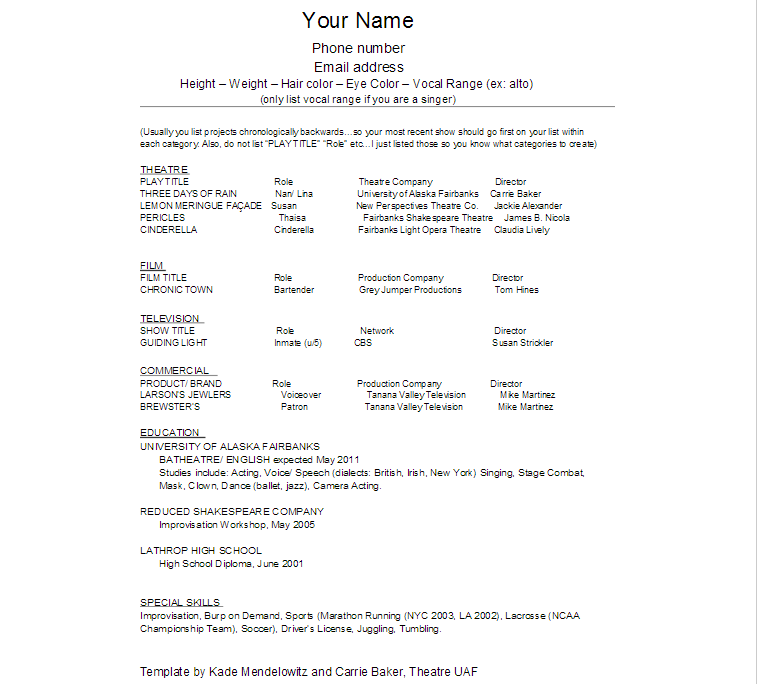 Acting Resume Template, Acting Resume