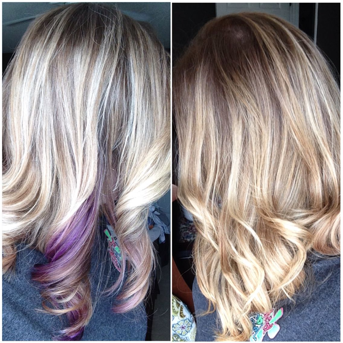 My Hair Blonde Ombre With Purple Peekaboo Hair Hair Inspiration Color Peekaboo Hair