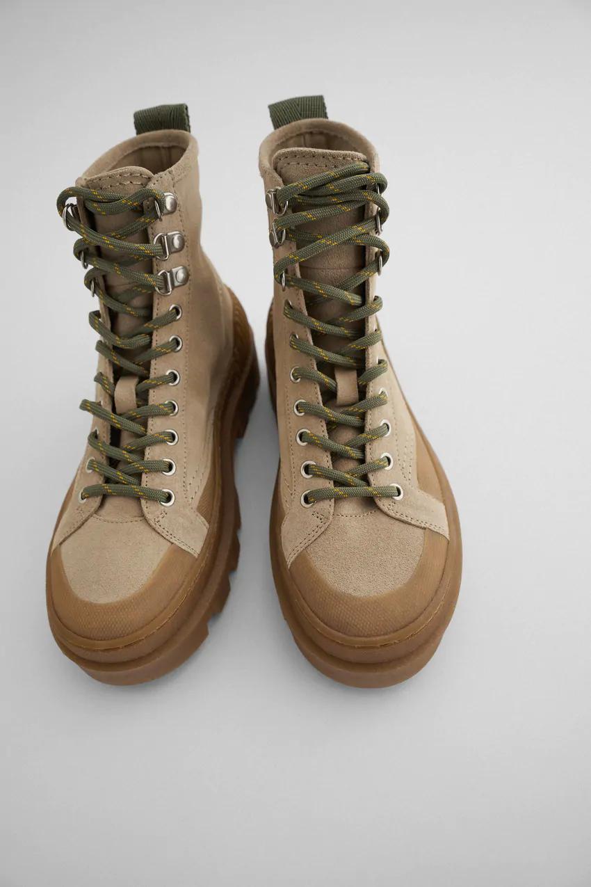 Skorzane Sznurowane Botki Na Plaskiej Podeszwie Zara Polska Poland In 2020 Leather Ankle Boots Boots Low Heels