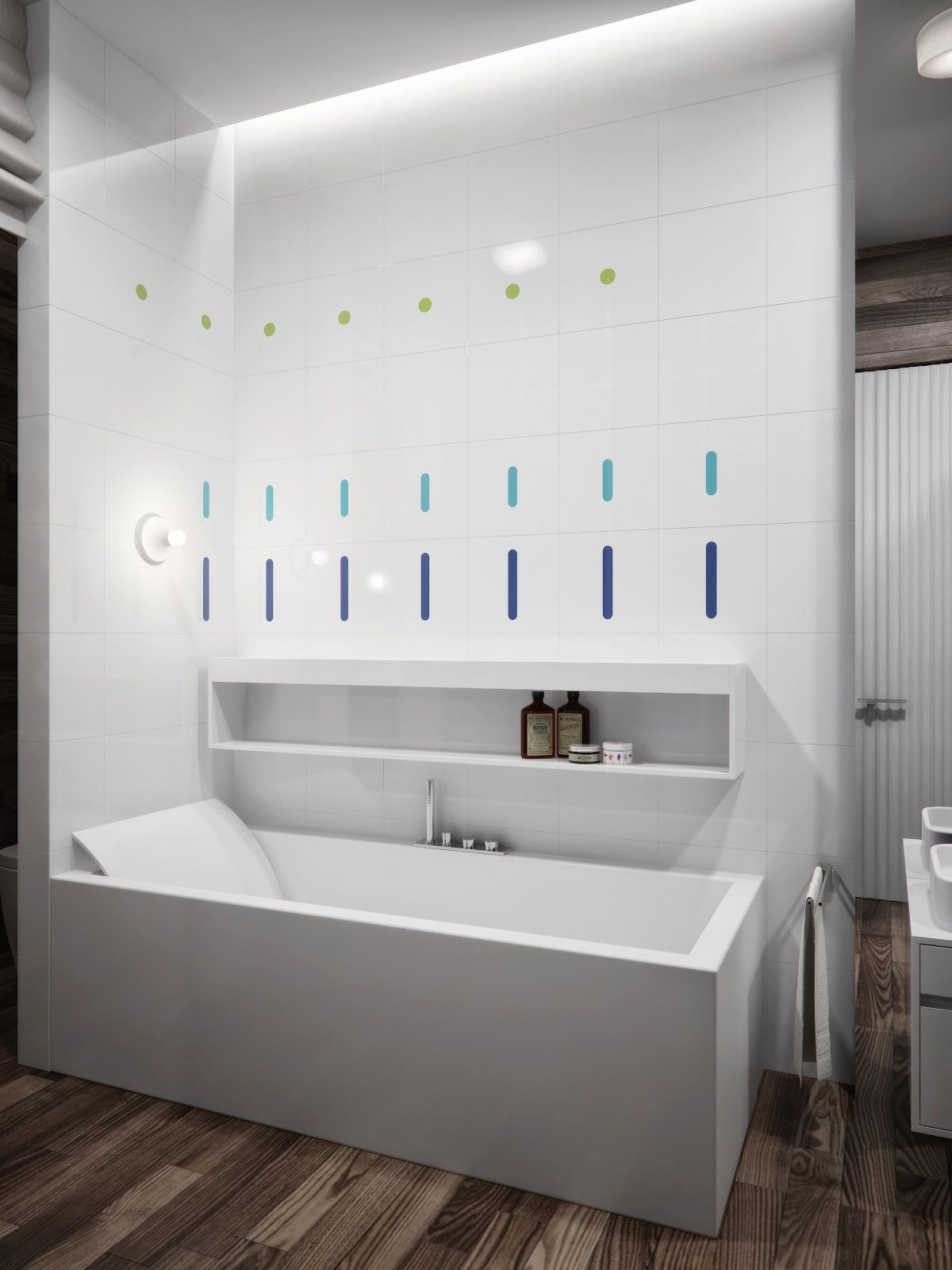 White Tile Bathroom Contemporary Bathroom Decor Ideas Combined With Wooden Accents