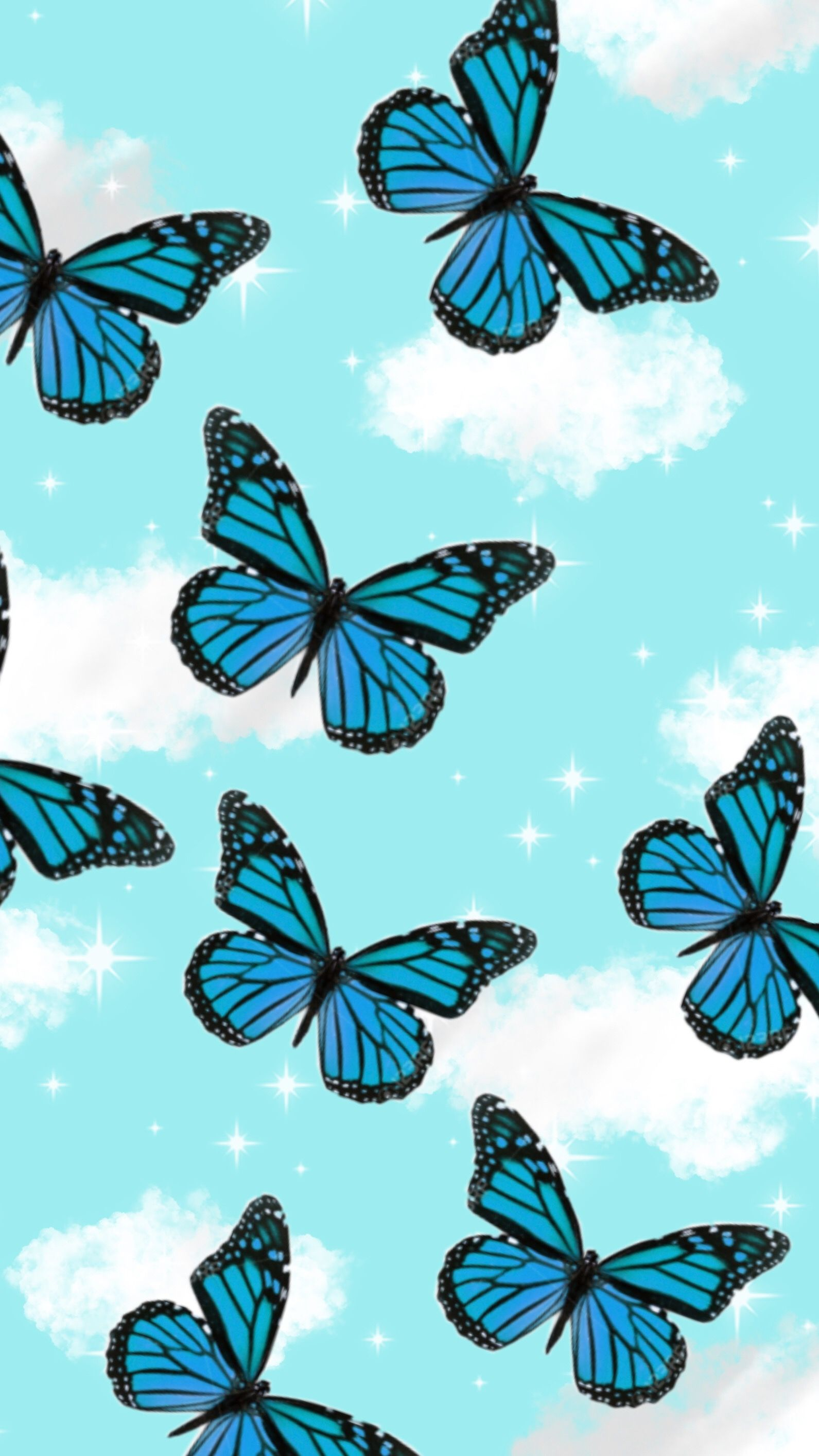 Blue Butterflies In 2020 Cute Patterns Wallpaper Butterfly Wallpaper Iphone Aesthetic Iphone Wallpaper