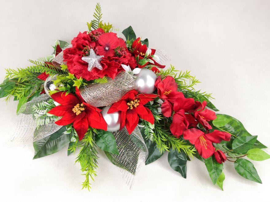 Gwiazda Betlejemska Czerwona 1286 7a Stroik Bukiet Z Wkladem Komplet Na Grob Na Swieta Boze Narodzenie Kompozycje Kwiatowe Marko604