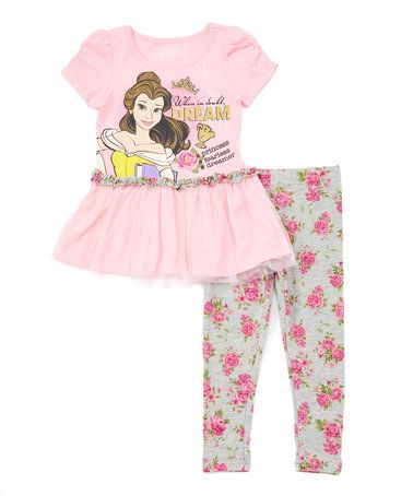 Pink Disney Princess Belle Top & Pants - Toddler & Girls #zulily #zulilyfinds