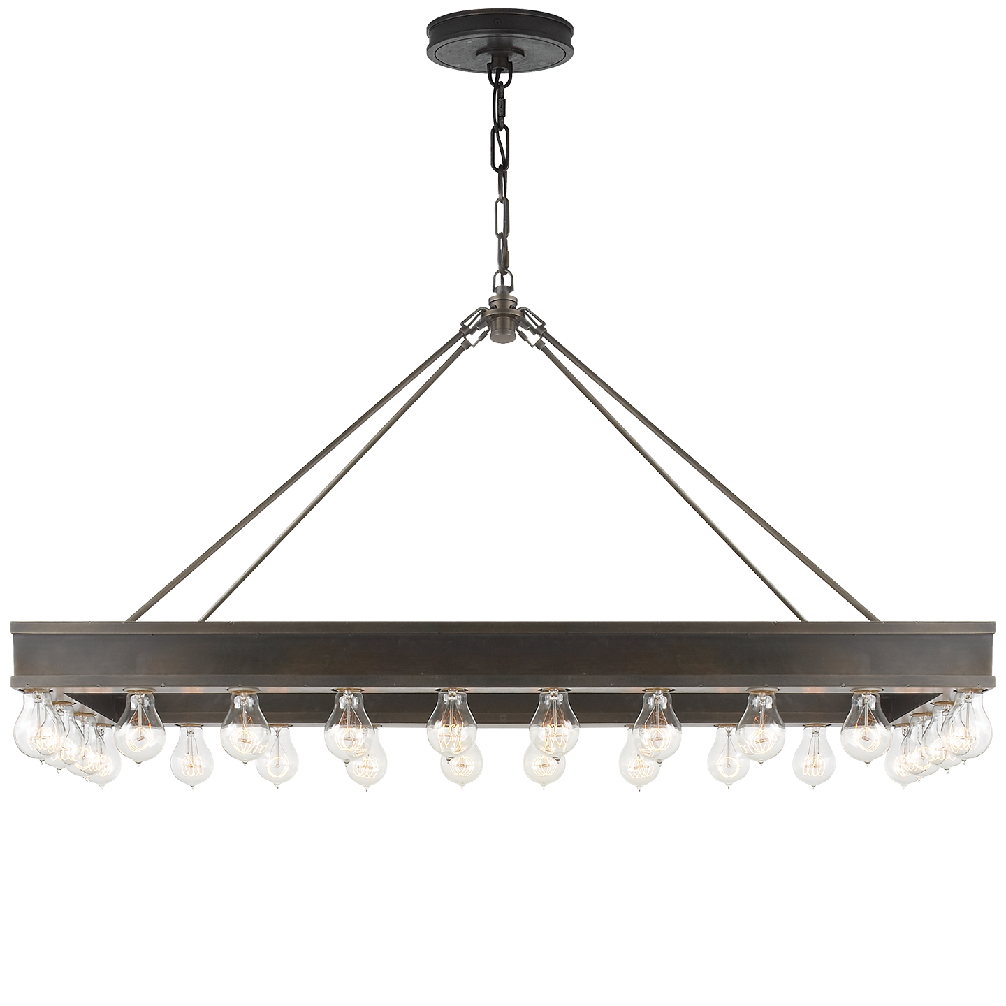 Roark rectangular chandelier in aged iron item rl 5134ai designer roark rectangular chandelier in aged iron item rl designer ralph lauren height width 45 x canopy round socket 24 keyless wattage 24 40 a bulb mozeypictures Images