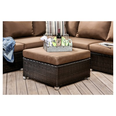 Hunt Modern Patio Sectional with Ottoman - Brown - Furniture of ...