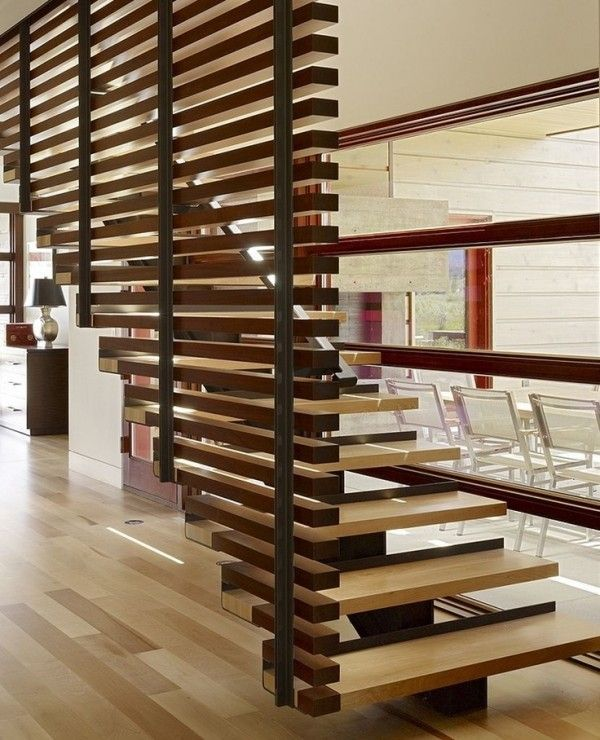 Architecture wooden staircase with wood wall cladding railings residence design ideas enchanting peaks view residence by carney logan burke architects