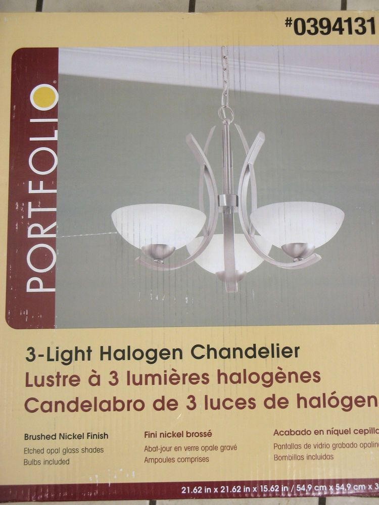 Portfolio 3 Light Chandelier Halogen Brushed Nickel Finish Etched Glass Shades #Portfolio
