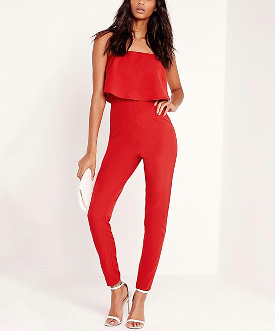 18a829530f9b5a Red Layered Strapless Jumpsuit