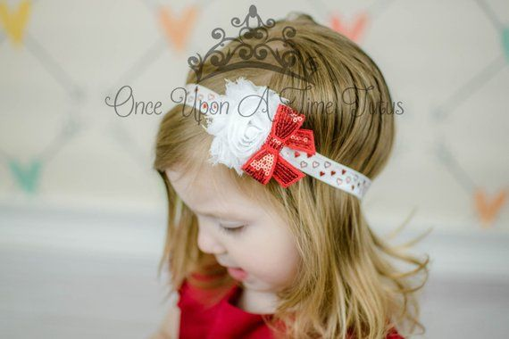 Red Valentine/'s Day Shabby Flower Heart Baby//Toddler//Girl Headband