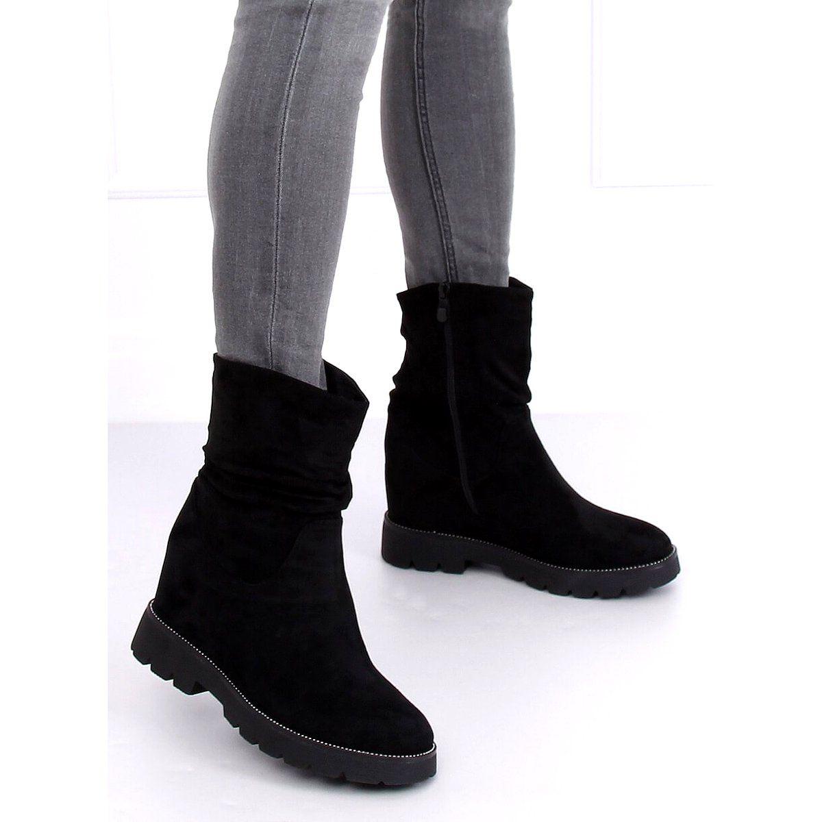 Botki Damskie Butymodne Botki Na Ukrytym Koturnie Czarne 7978 Ka Black Boots Ugg Boots Shoes