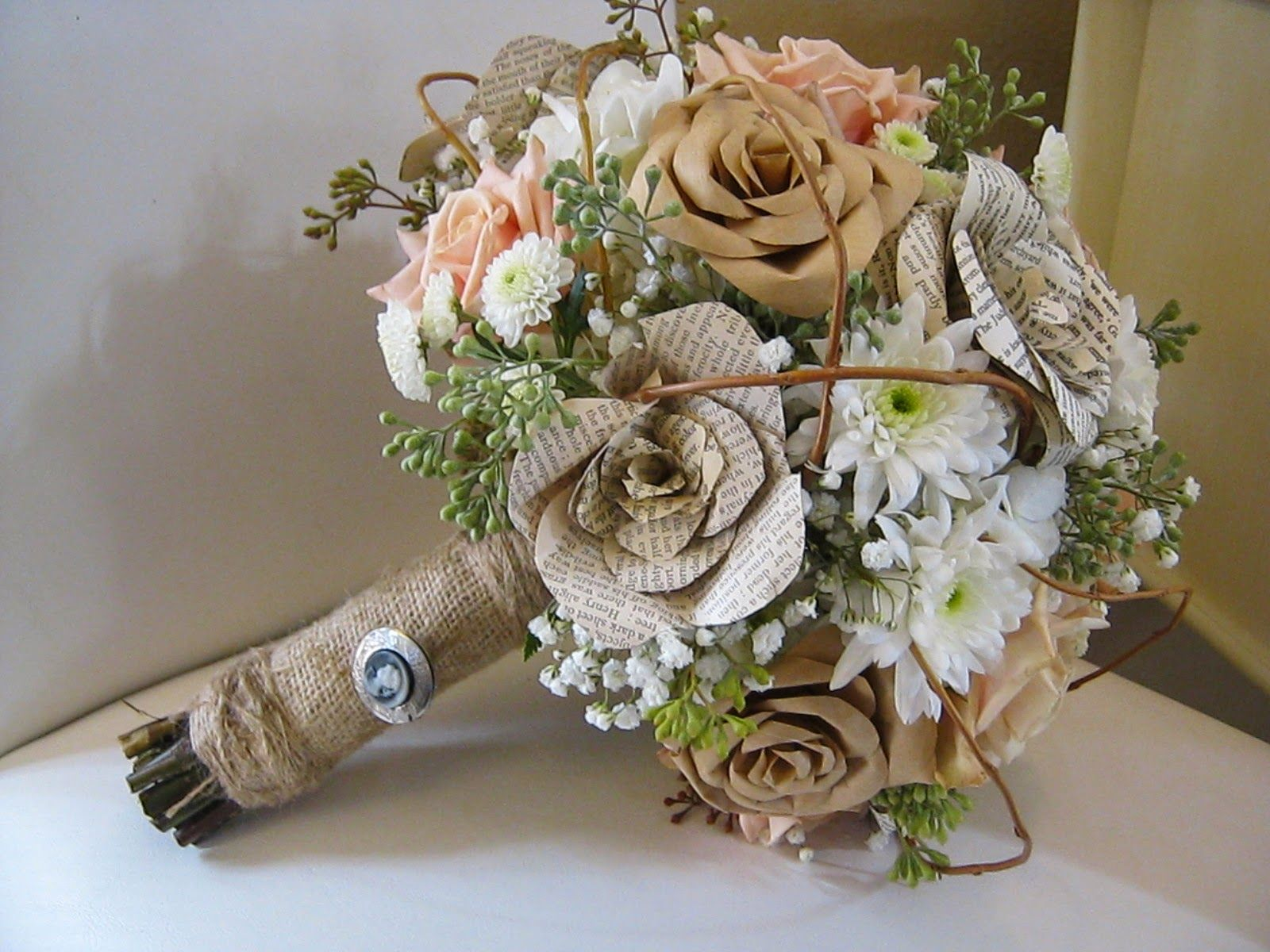 Bouquet Mix Of Paper And Real Flowers Wrapped In Burlap The
