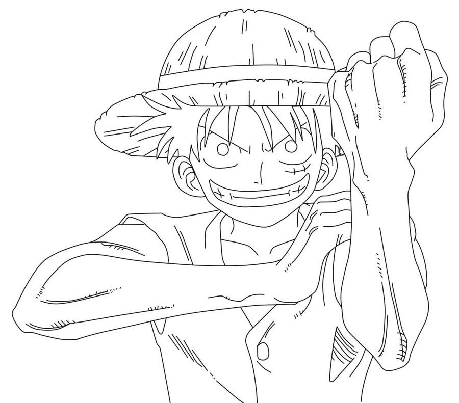 coloring pages one piece | line art | Luffy One Piece Line Art by ~XXPiGeOnSXX on ...