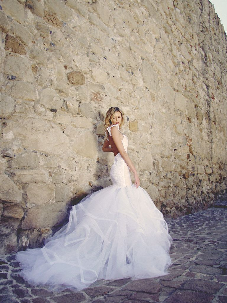 Lace mermaid wedding dress with cathedral train  Vivianna  LAUREN ELAINE BRIDAL  Pinterest  Cathedral train