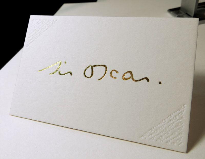 Sir Oscar Impression Carte De Visite X Cm Marquage Chaud Or Et Dbossage Pur R V Couleur Sur Tranches Papier Duplex