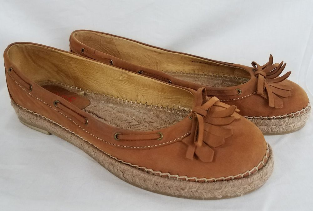 Michael Kors Espadrille Flats Brown Suede Leather Tassels Brazil Womens 8M