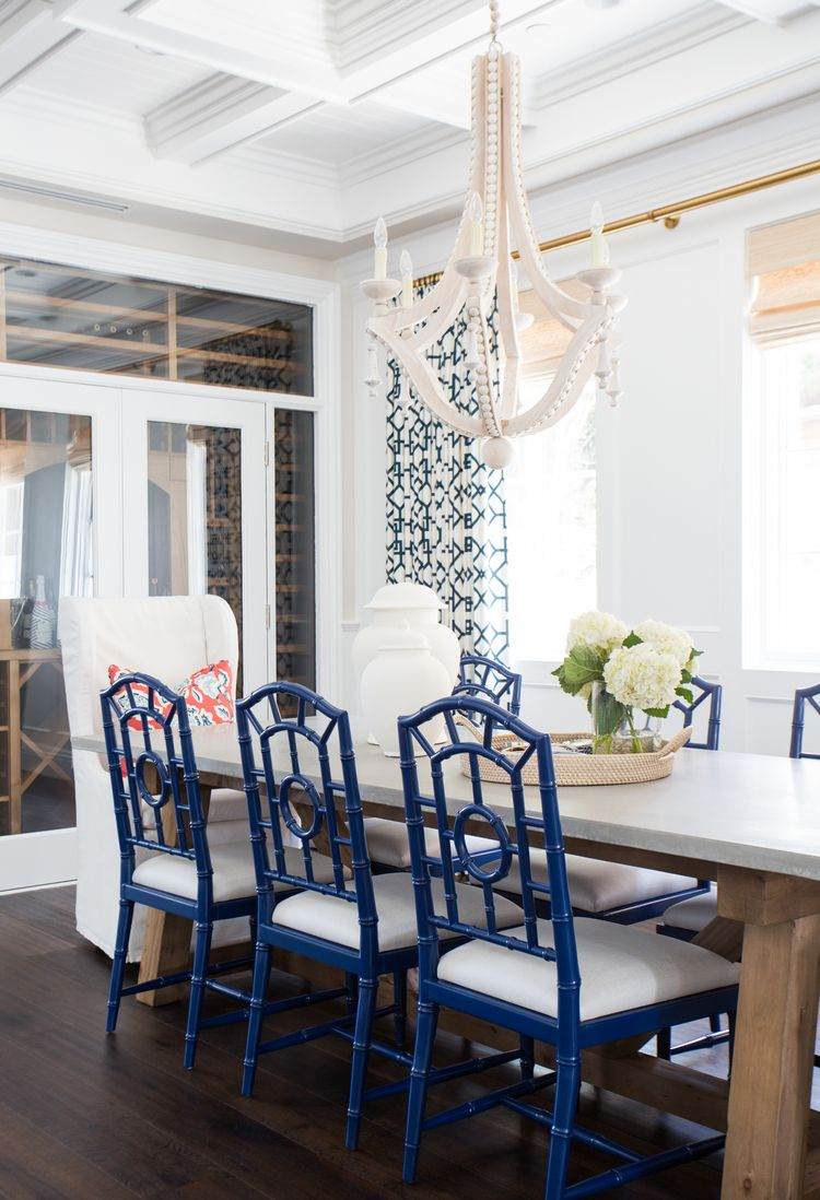 Coastal Prep In The Pacific Palisades Entry Living & Dining Awesome Blue Dining Room Furniture Inspiration Design