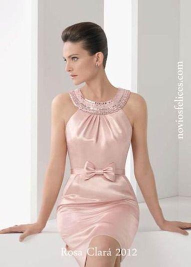 Vestidos ceremonia cortos rosa clara
