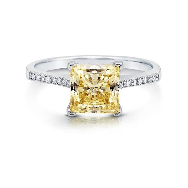 BERRICLE Sterling Silver Princess Canary Yellow CZ Solitaire... ($53) ❤ liked on Polyvore