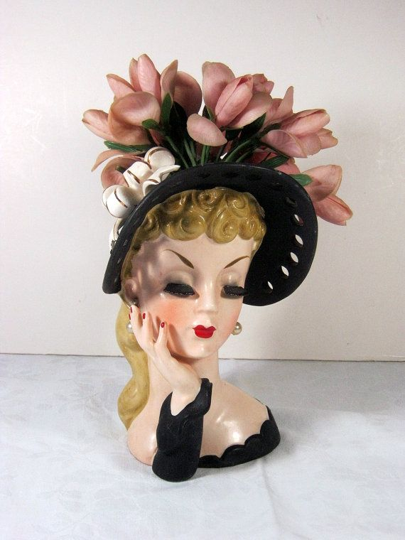 Vintage Napco Head Vase Black Lashes By Lavendergardencottag