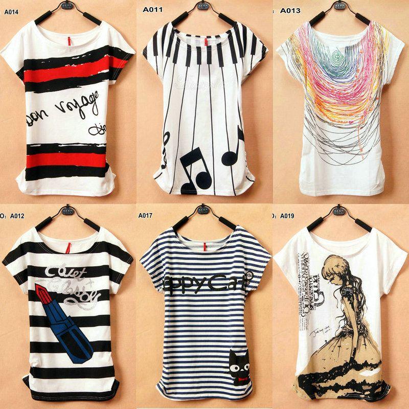 2013 New T-Shirt Women 40 models tees type Loose T-shirts Short ...