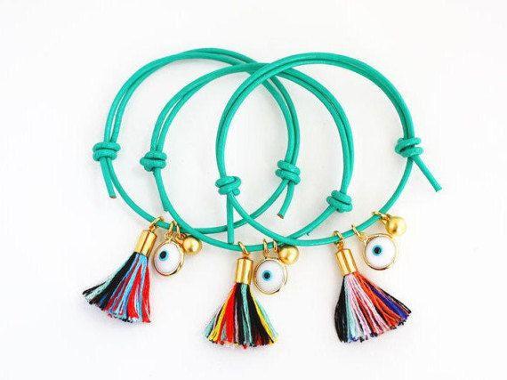 Evil Eye Bracelet Evil Eye Adjustable Leather Bracelet with