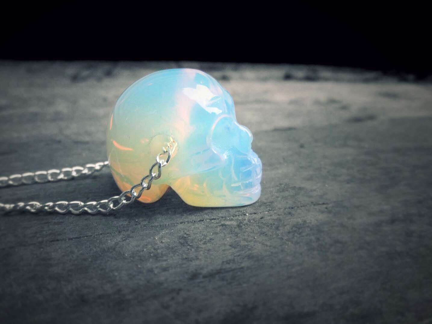 Crystal Skull Necklace // Holographic Opal Skull // Opal Quartz Necklace // Carved Opalite Human Skull // Pastel Grunge, Goth, Boho, Punk #quartznecklace