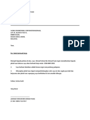 Surat Pengesahan Pekerja Membuka Akaun Bank Surat Bank Intan