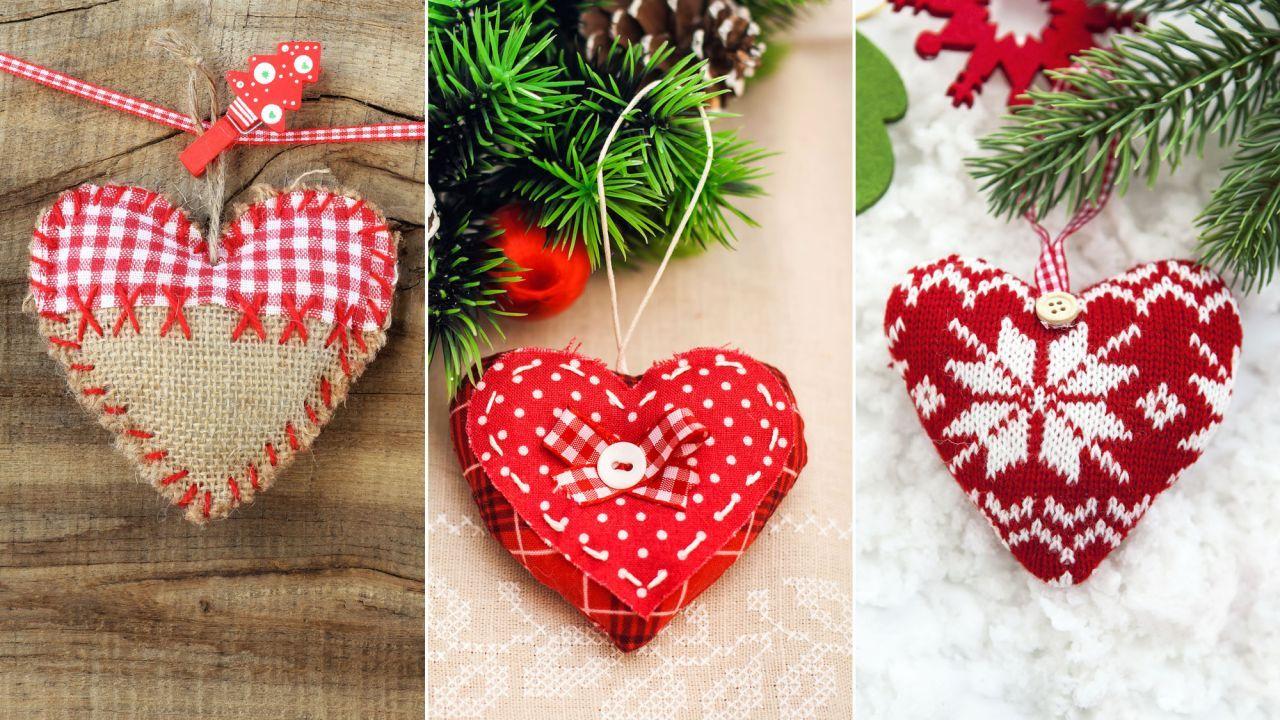 Originales adornos navideos en forma de corazn